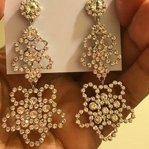 Kate spade crystal lace silver earrings